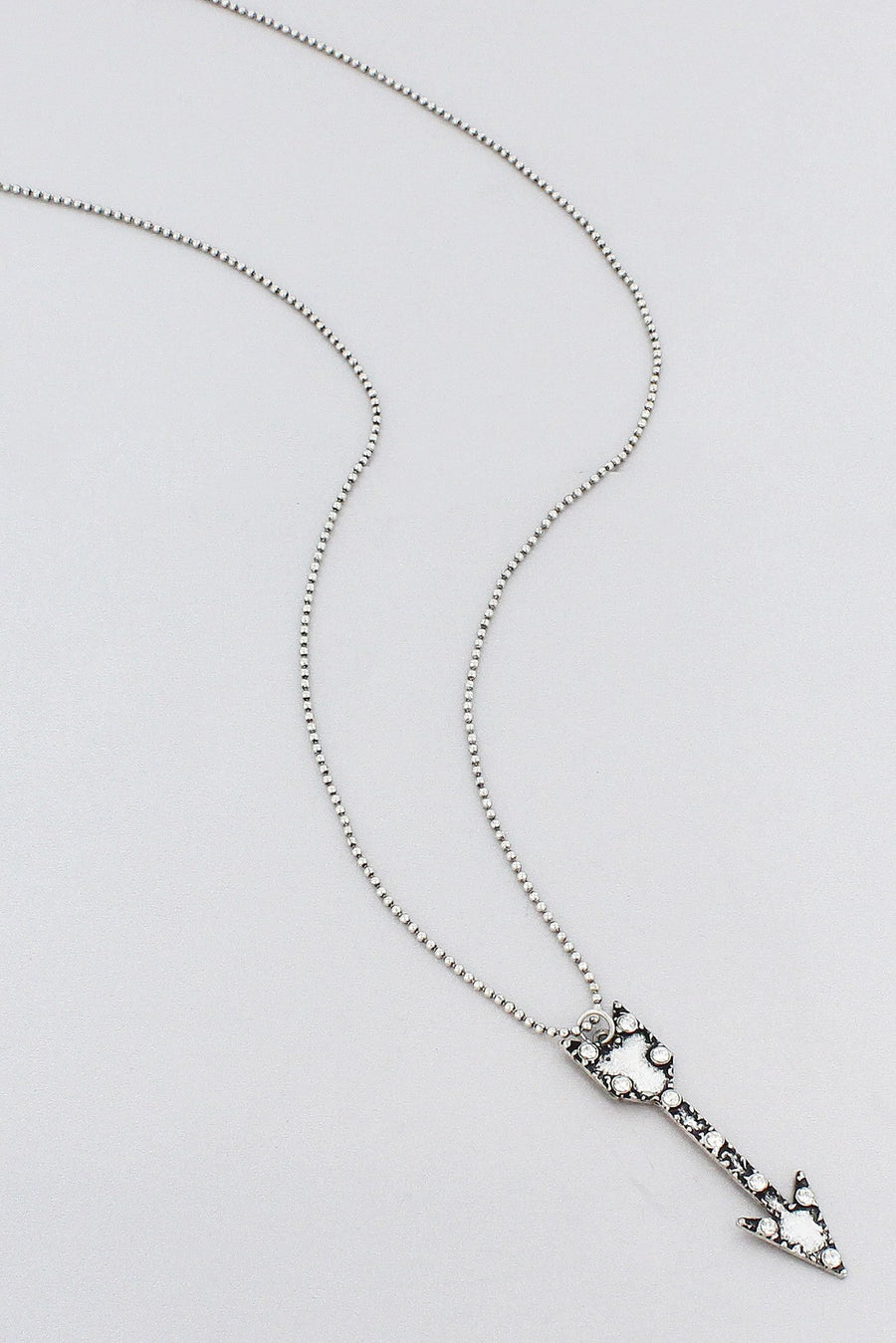 Crystal Accented Burnished Silvertone Arrow Pendant Necklace
