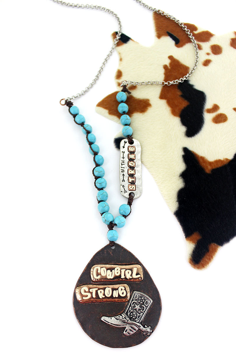 Worn Coppertone with Two-Tone 'Cowgirl Strong' Boot Teardrop Necklace