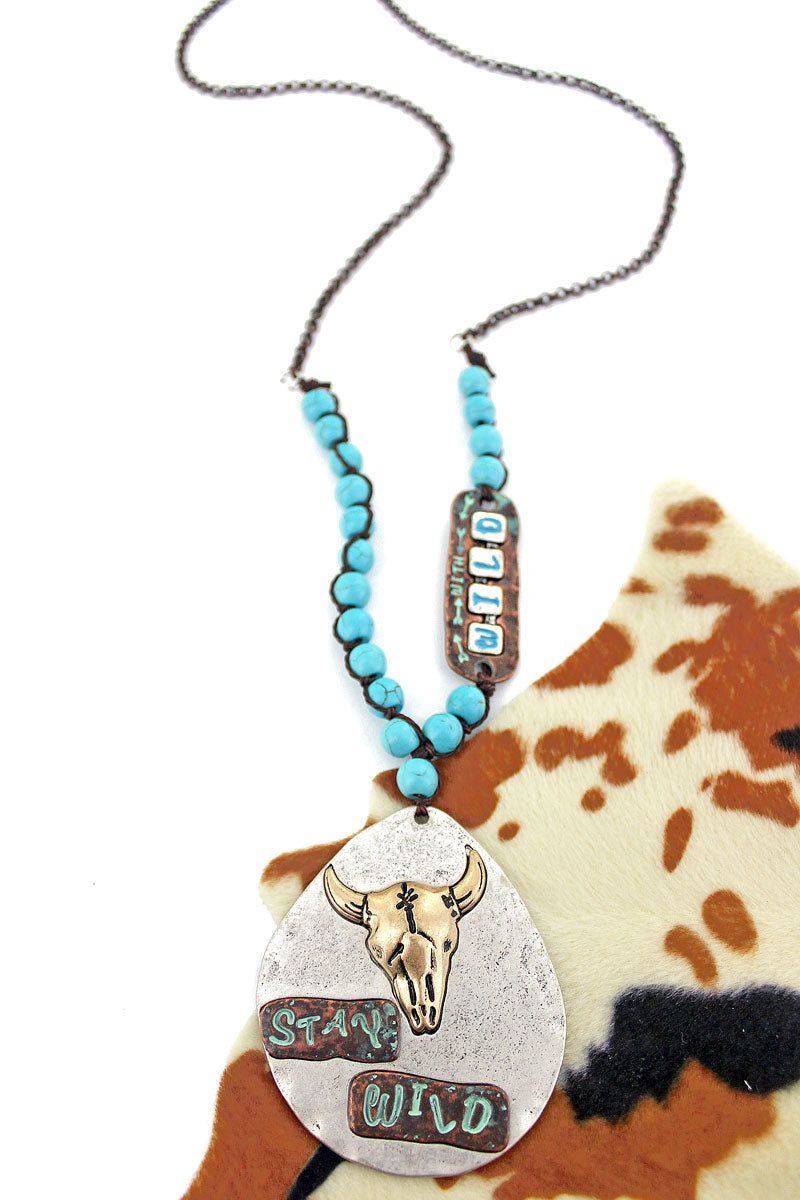 Burnished Silvertone with Two-Tone 'Stay Wild' Longhorn Teardrop Necklace