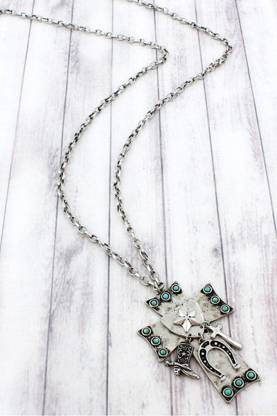Burnished Silvertone Western Charm Cross Pendant Necklace