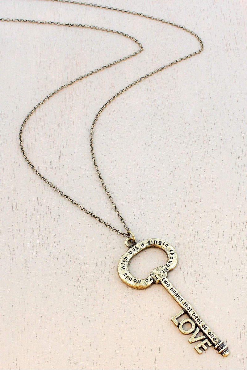 Burnished Brasstone 'Love' Key Pendant Necklace