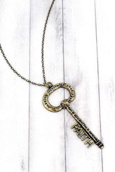 Burnished Brasstone 'Faith' Key Pendant Necklace