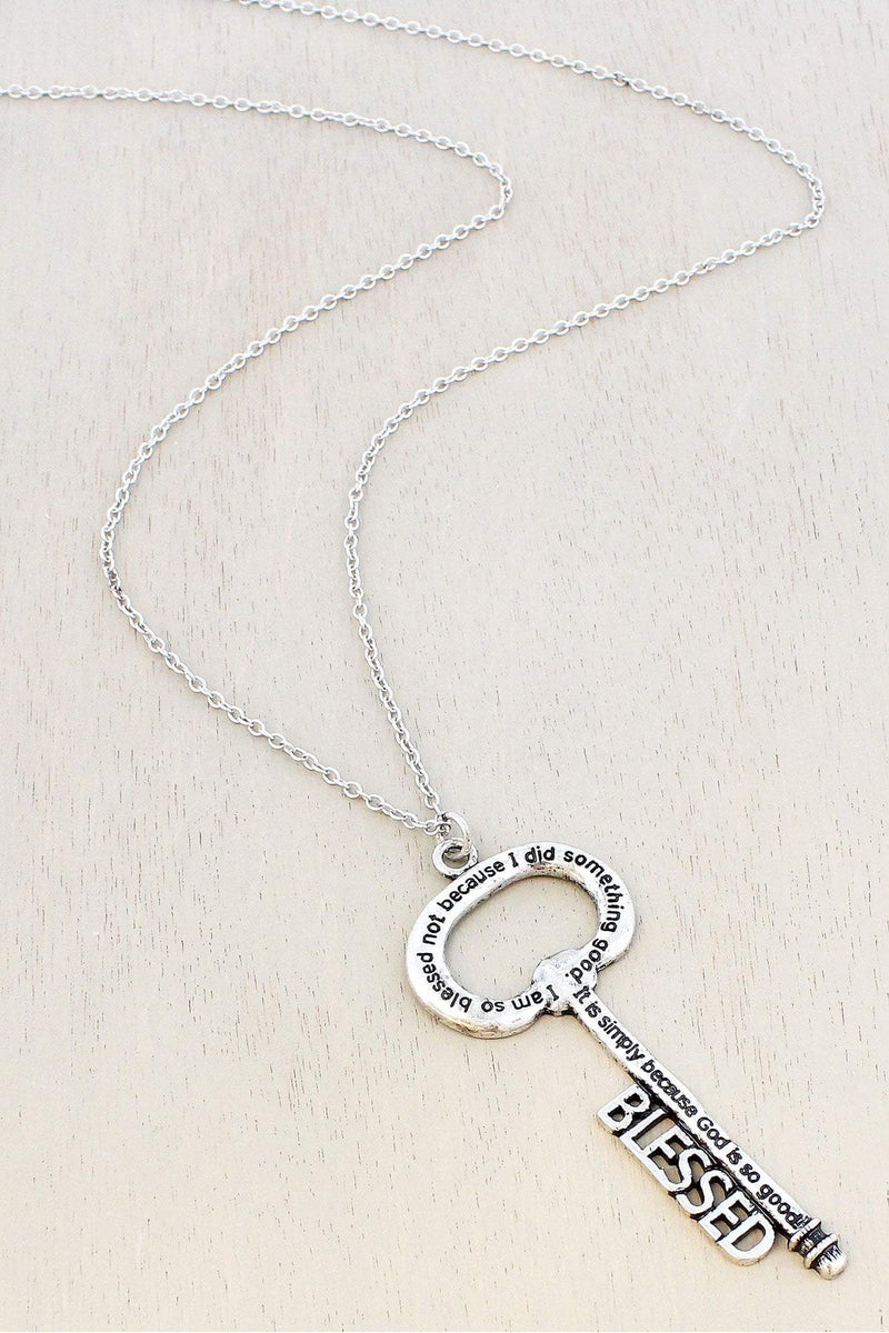 Burnished Silvertone 'Blessed' Key Pendant Necklace