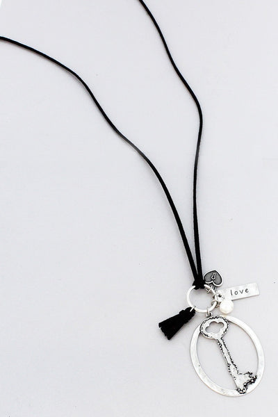 Burnished Silvertone 'Love' Key Black Cord Necklace