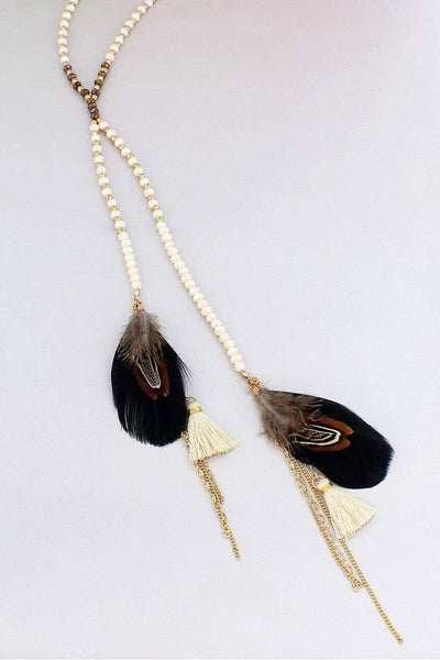 Cream Beaded Feather & Thread Tassel Double Y Necklace