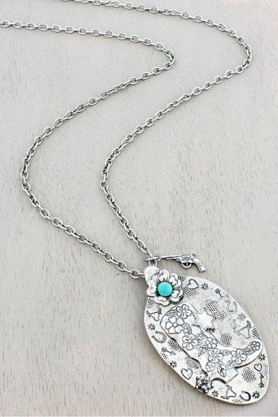 Burnished Silvertone Western Cowgirl Boot Spoon Pendant Necklace