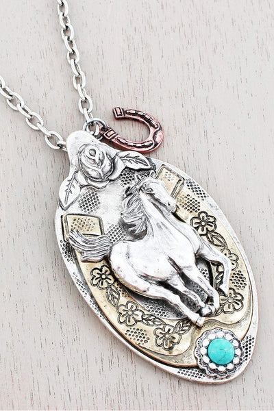 Burnished Tri-Tone Western Horse Spoon Pendant Necklace