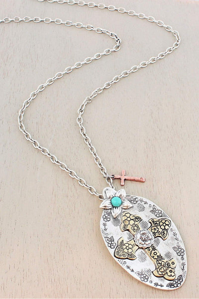 Burnished Tri-Tone Western Cross Spoon Pendant Necklace