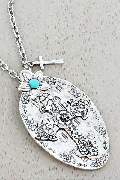 Burnished Silvertone Western Cross Spoon Pendant Necklace