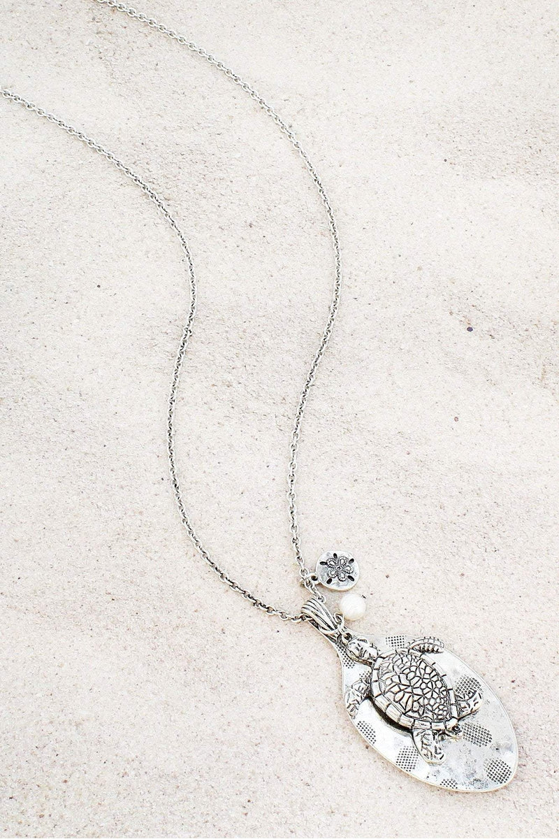 Burnished Silvertone Turtle and Spoon Pendant Necklace