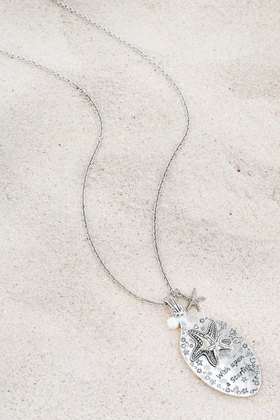 Burnished Silvertone 'Wish Upon A Starfish' Spoon Pendant Necklace