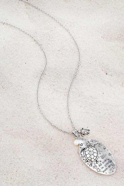 Burnished Silvertone 'At Ease In Your Own Shell' Spoon Pendant Necklace