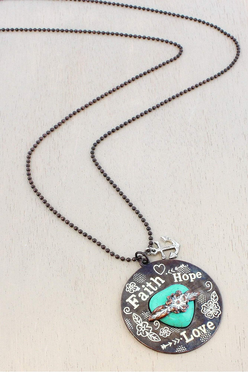 White Patina Coppertone Western 'Faith Hope Love' Pendant Necklace