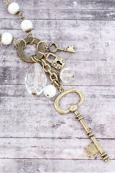 Burnished Brasstone Key and Crystal Cluster Pendant Necklace