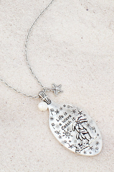Burnished Silvertone 'Life Is A Wave' Palm Tree Spoon Pendant Necklace