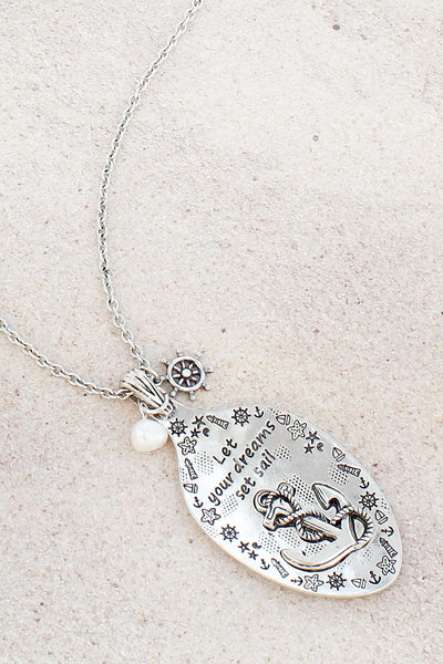 Burnished Silvertone 'Dreams Set Sail' Anchor Spoon Pendant Necklace