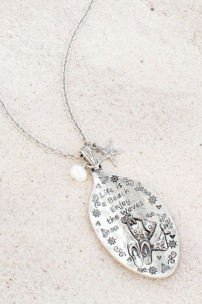 Burnished Silvertone 'Life Is A Beach' Bikini Spoon Pendant Necklace