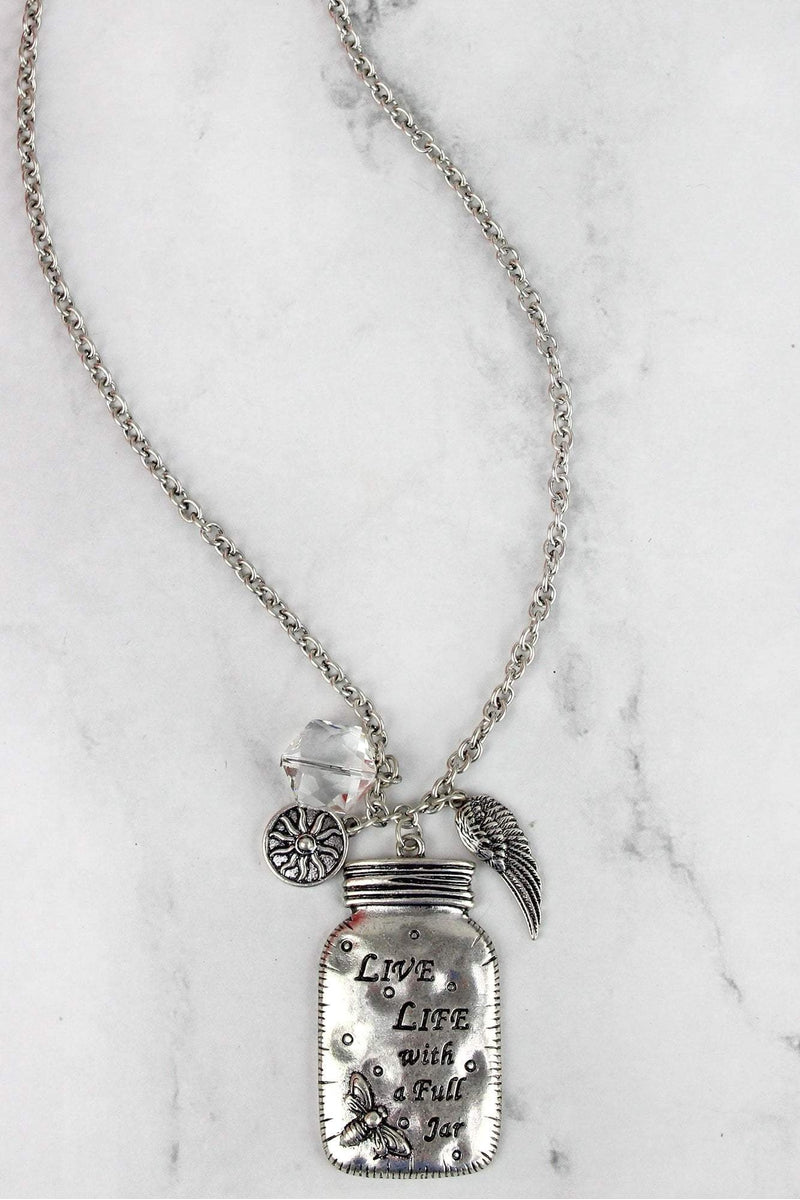 Burnished Silvertone 'Live Life' Mason Jar Charm Pendant Necklace