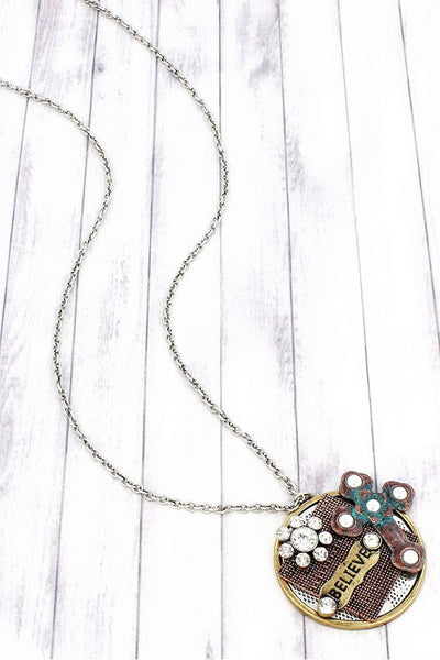 SALE! Multi-Tone 'Believe' Cross Collage Pendant Necklace