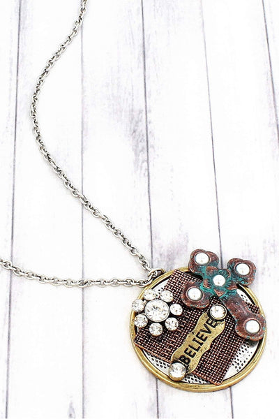 Multi-Tone 'Believe' Cross Collage Pendant Necklace