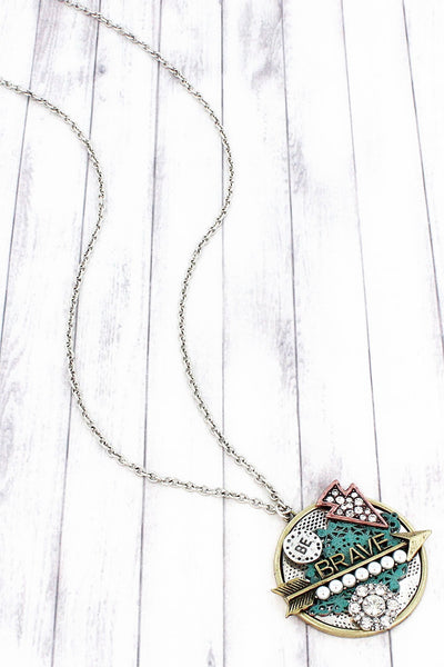 Multi-Tone 'Be Brave' Arrow Collage Pendant Necklace