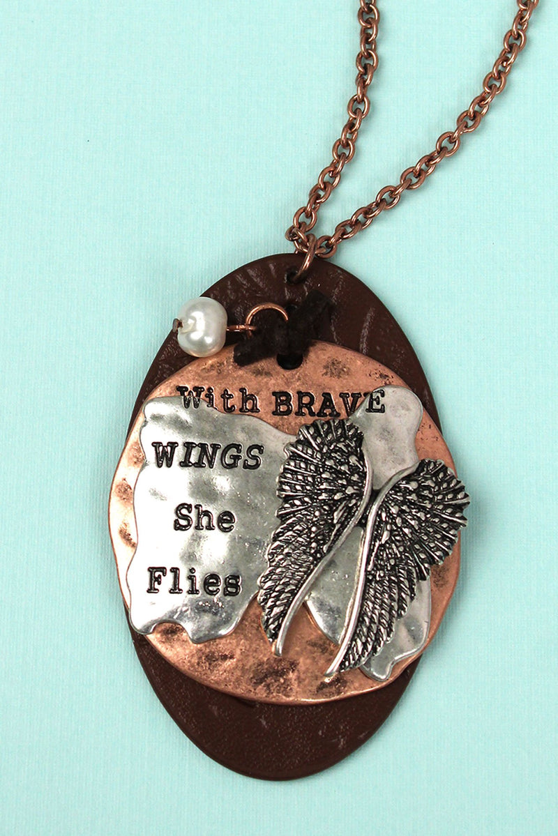 Two-Tone and Brown Faux Leather 'Brave Wings' Necklace