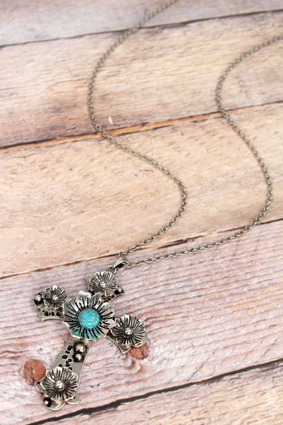 Burnished Silvertone and Turquoise Bead Cross Necklace
