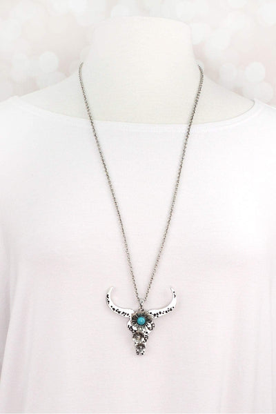 Burnished Silvertone and Turquoise Bead Longhorn Necklace