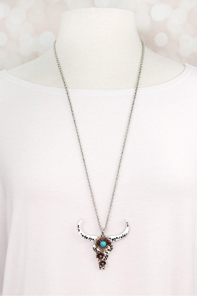 Burnished Two-Tone and Turquoise Bead Longhorn Necklace