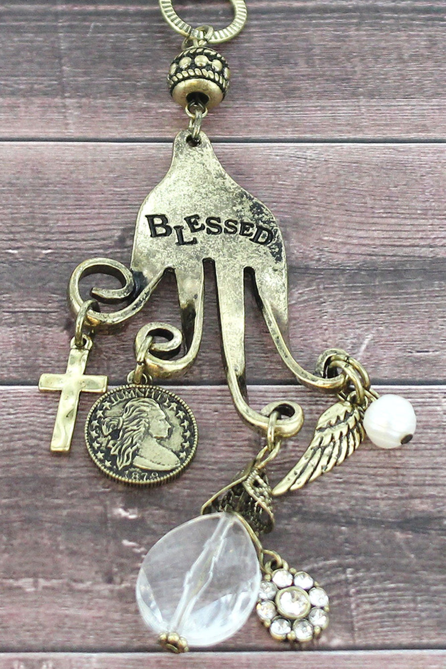 Burnished Brasstone 'Blessed' Fork Charm Pendant Necklace