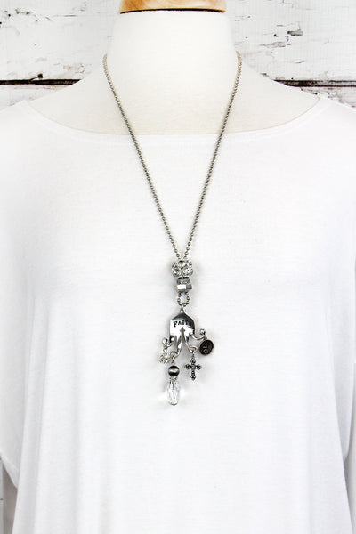 SALE! Burnished Silvertone 'Faith' Fork Charm Pendant Necklace