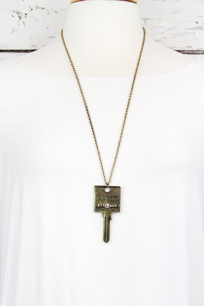 Burnished Brasstone and Crystal 'Faith' Key Necklace
