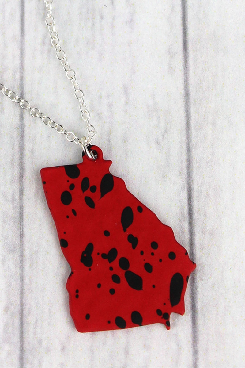 Red and Black Splatter Georgia Silvertone Necklace