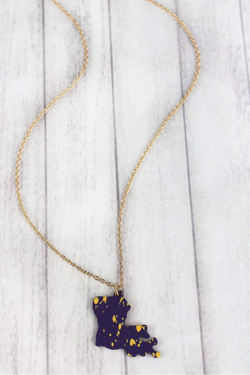 Purple and Gold Splatter Louisiana Goldtone Necklace