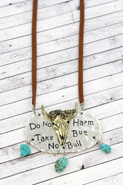 Burnished Two-Tone and Turquoise Stone 'Take No Bull' Cord Necklace