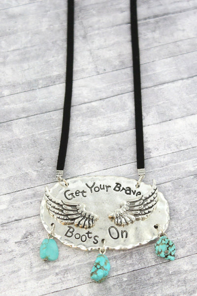 Burnished Silvertone with Turquoise Stone 'Brave Boots' Cord Necklace