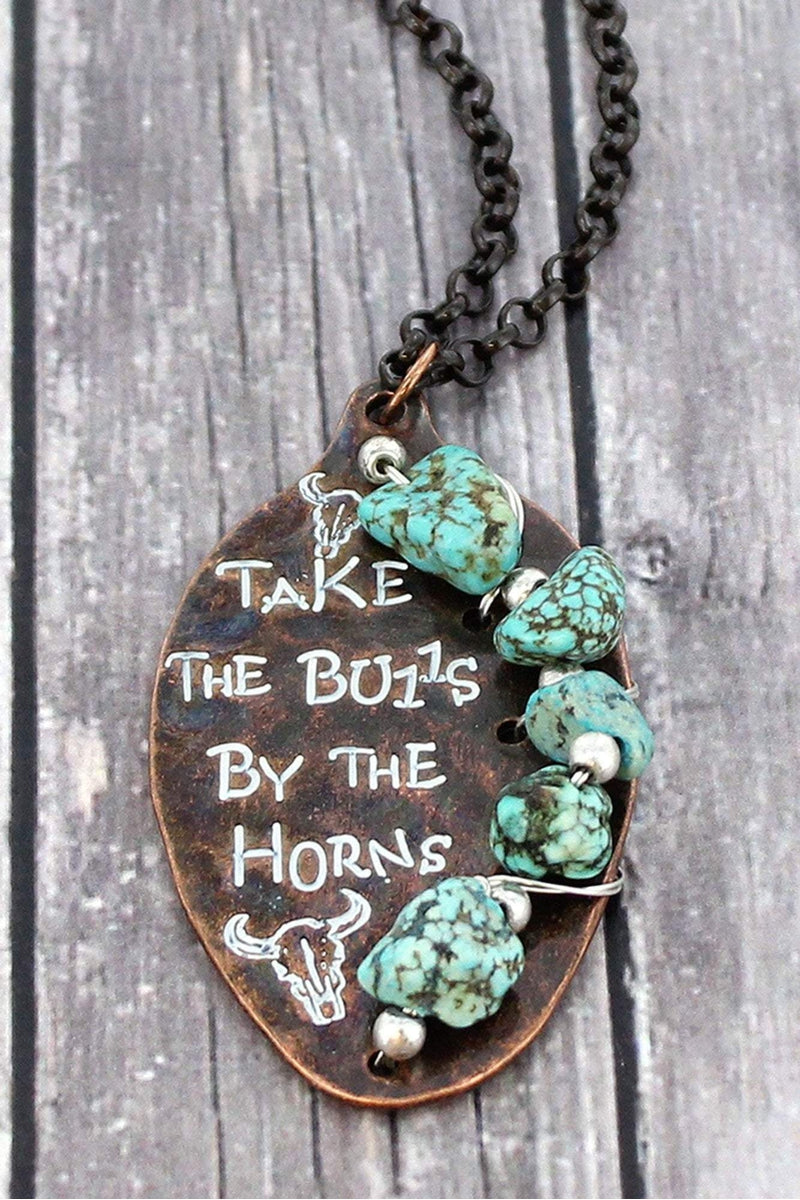 Worn Coppertone and Turquoise Stone 'Take The Bulls' Spoon Necklace
