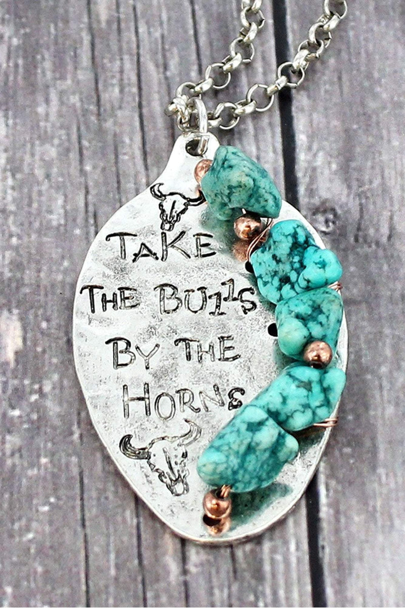 Burnished Silvertone and Turquoise Stone 'Take The Bulls' Spoon Necklace