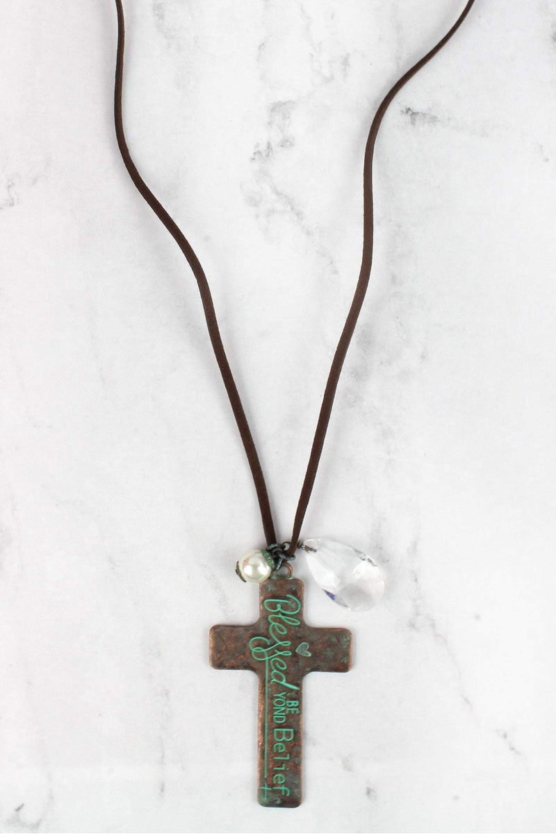 Patina 'Blessed Beyond Belief' Cross Charm Pendant Cord Necklace