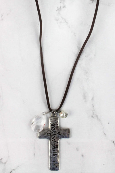Burnished Silvertone 'Blessed Beyond Belief' Cross Charm Pendant Cord Necklace
