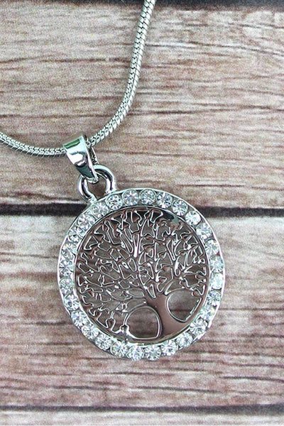 Crystal Trimmed Silvertone Tree of Life Disk Necklace