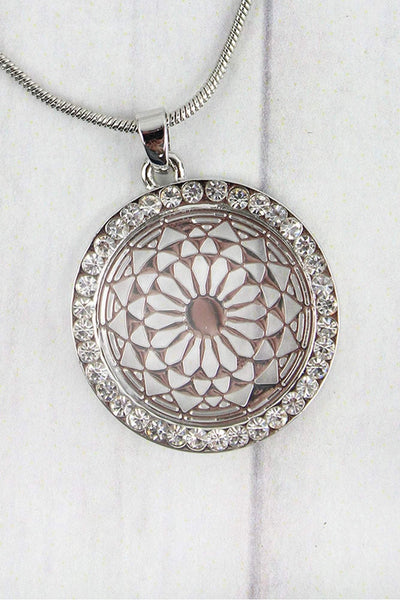 Crystal Trimmed Silvertone Filigree Disk Necklace