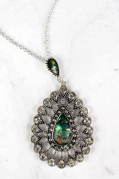 Abalone and Crystal Accented Silvertone Teardrop Necklace