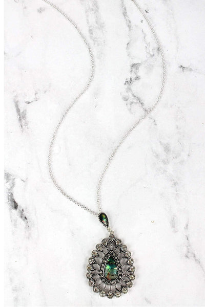 SALE! Abalone and Crystal Accented Silvertone Teardrop Necklace