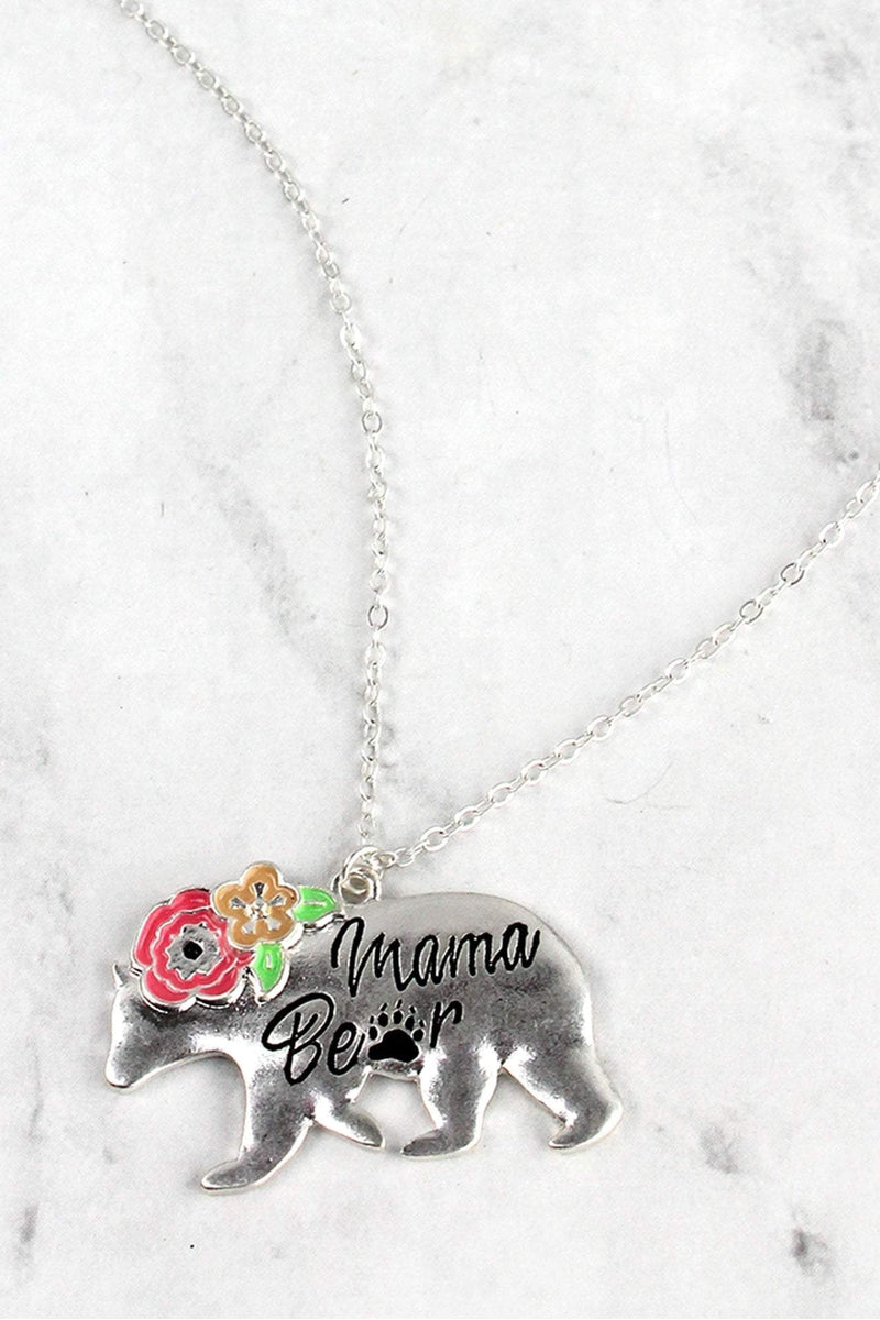 Worn Silvertone Floral Mama Bear Pendant Necklace