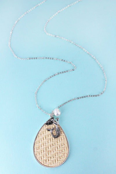 SALE! Ivory Rattan Teardrop with Silvertone Mermaid Pendant Necklace