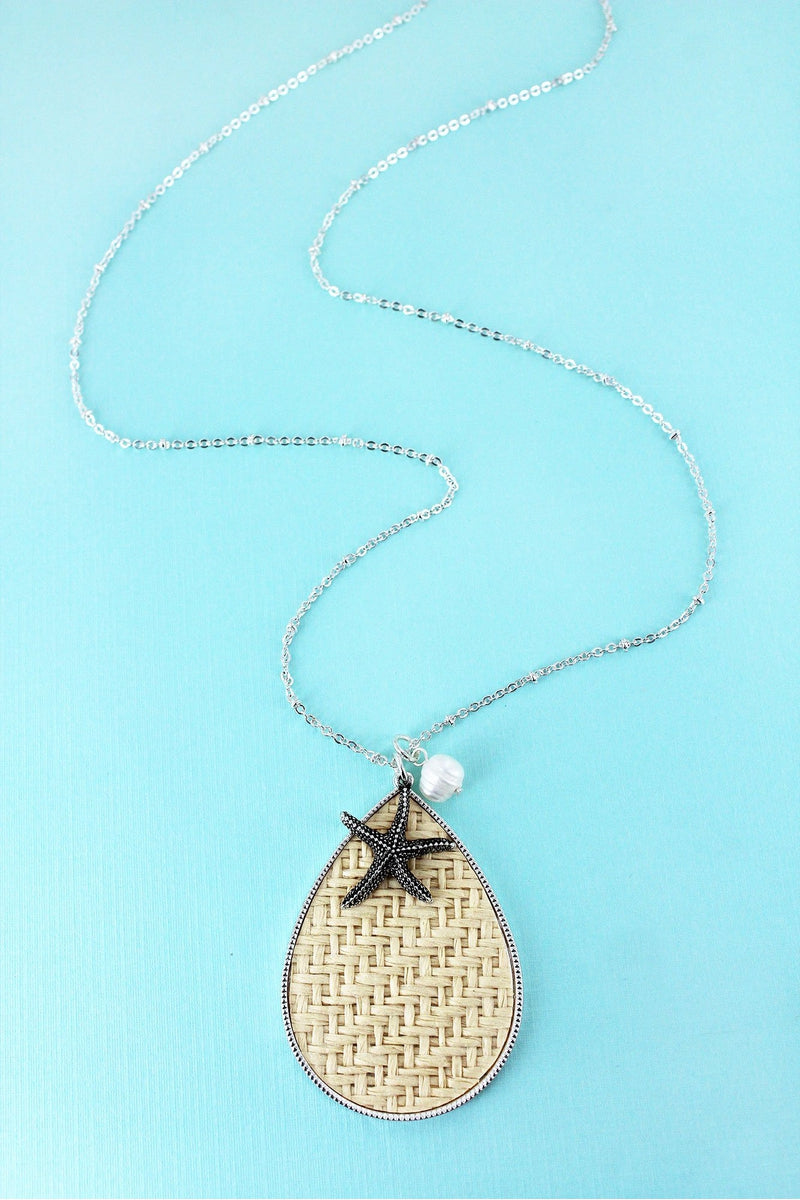 Ivory Rattan Teardrop with Silvertone Starfish Pendant Necklace