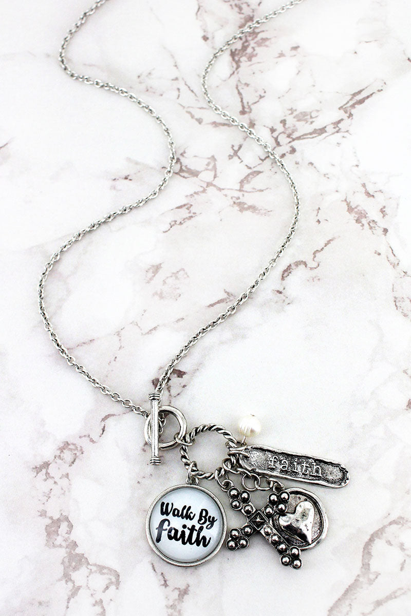 Burnished Silvertone 'Walk By Faith' Bubble Charm Toggle Pendant Necklace