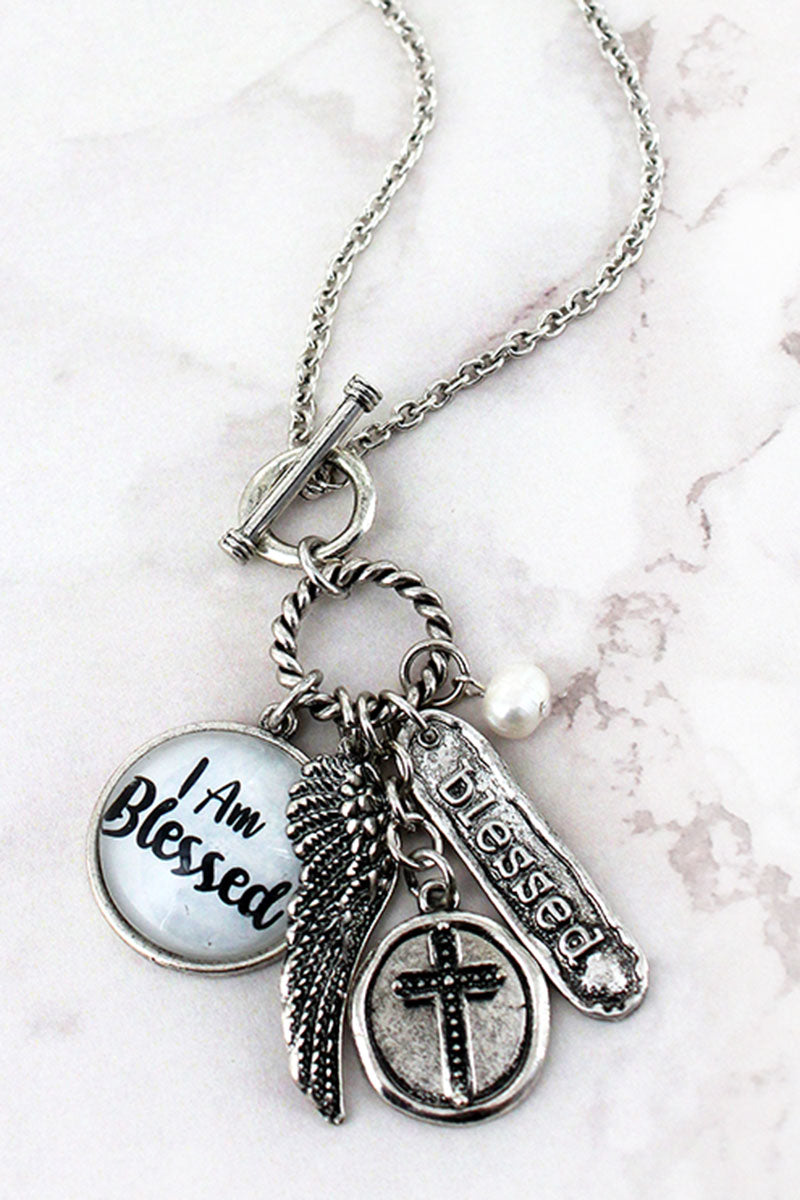 Burnished Silvertone 'I Am Blessed' Bubble Charm Toggle Pendant Necklace