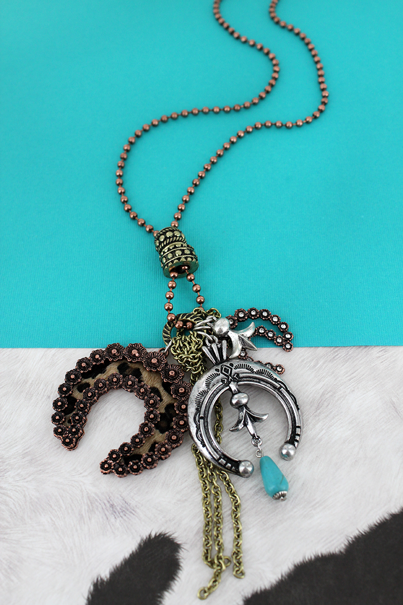 Tri-Tone and Leopard Naja Cluster Pendant Necklace